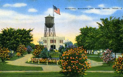 Municipal Building and park, Bryan, Texas.